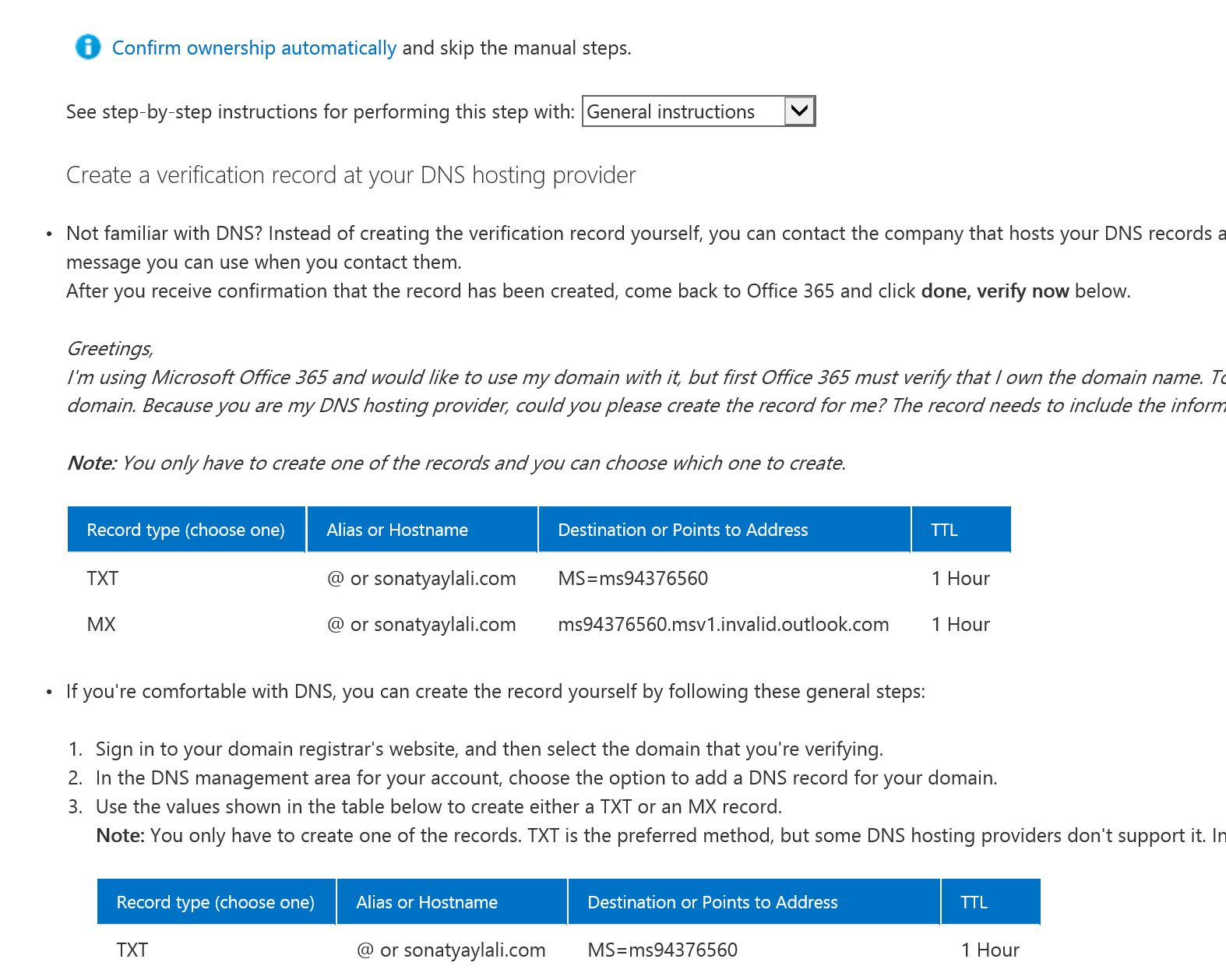 how to add txt to dns office 365